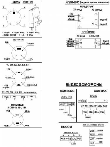Схема подключения видеодомофонов.  945x1260www.arsenal-sb.ru - Модели видеодомофонов - Установка...